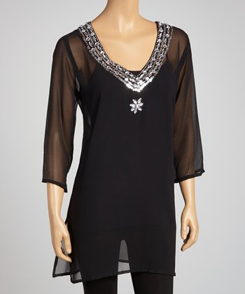 Black Chiffon Embellished Tunic