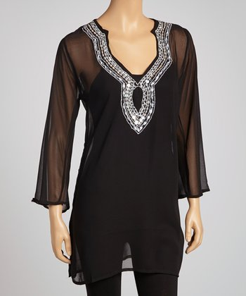 Black Sequin Chiffon Tunic