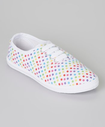 White & Pink Polka Dot Sneaker