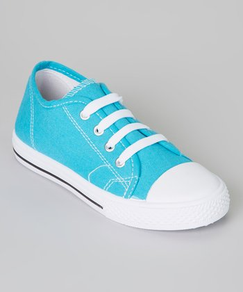Aqua & White Shell-Toe Sneaker