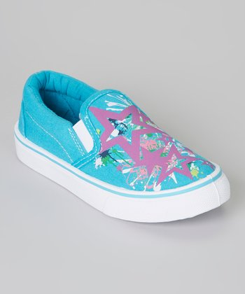 Teal & Purple Star Slip-On Sneaker