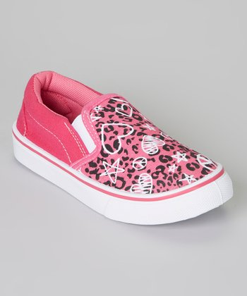 Pink & Black Leopard Heart Slip-On Sneaker