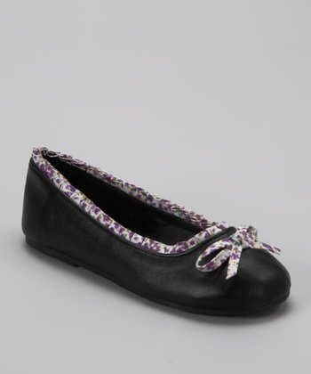 Black & Purple Floral Ballet Flat