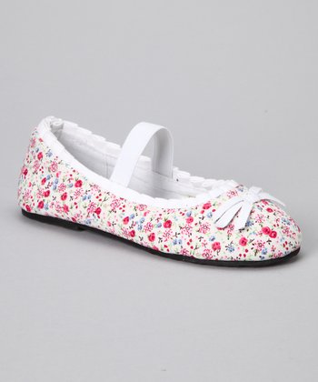 Chatties White Floral Ballet Flat