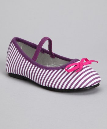 Purple Stripe Ballet Flat