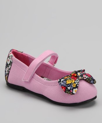 Light Pink Floral Bow Flat