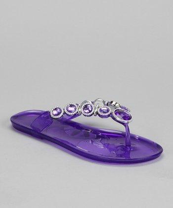 Purple Rhinestone Jelly Sandal