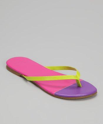 Chatties Fuchsia & Purple Color Block Flip-Flop