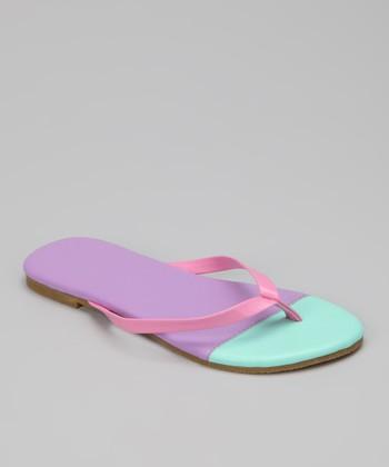 Chatties Lilac & Mint Color Block Flip-Flop