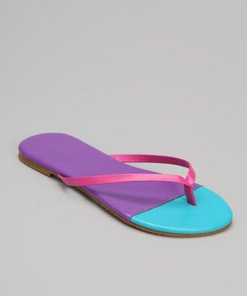 Chatties Purple & Turquoise Color Block Flip-Flop