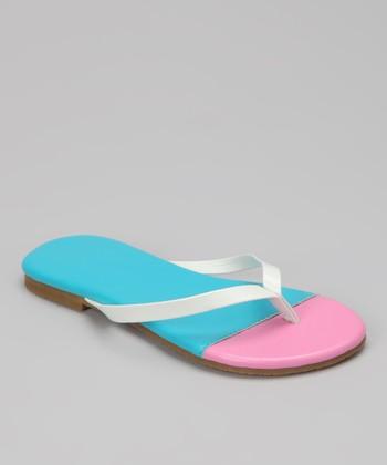 Chatties Turquoise & Light Pink Color Block Flip-Flop