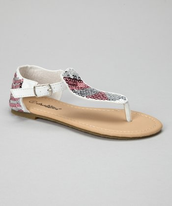 White Sequin Sandal