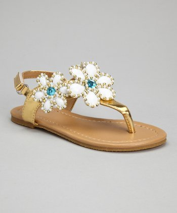Gold Bead Flower Sandals