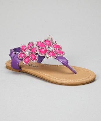 Purple Bead Flower Sandals