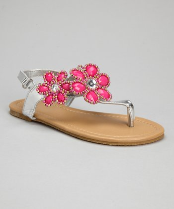 Silver & Fuchsia Bead Flower Sandals