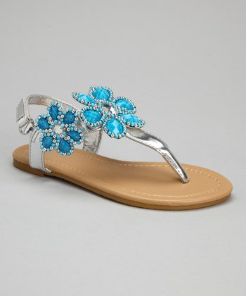 Silver & Turquoise Bead Flower Sandals