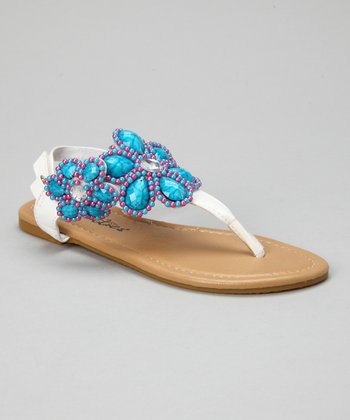 White Bead Flower Sandal