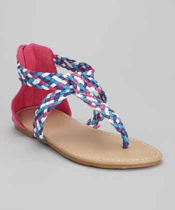Fuchsia & Blue Braided Sandal