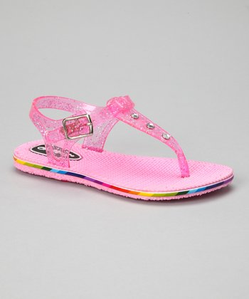 Light Pink Glitter Jelly Sandal