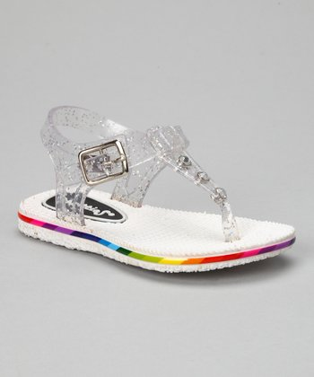 White Glitter Jelly Sandal