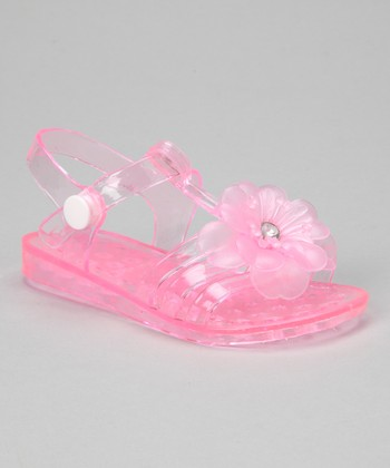 Light Pink Flower Jelly Sandal