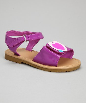 Purple Patent Heart Sandal