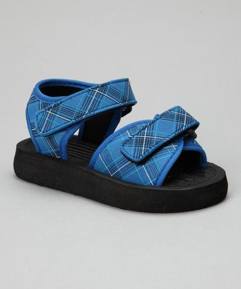 Blue Plaid Nubuck Sandal
