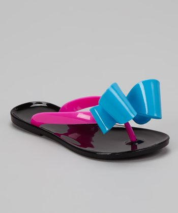 Black Bow Jelly Flip-Flop