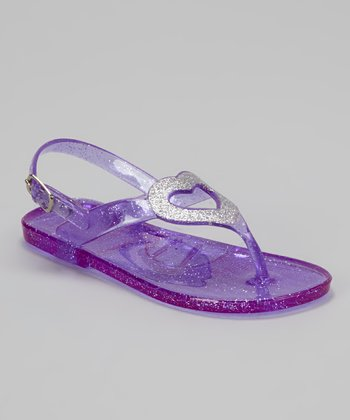 Purple Glitter Heart Jelly Sandal