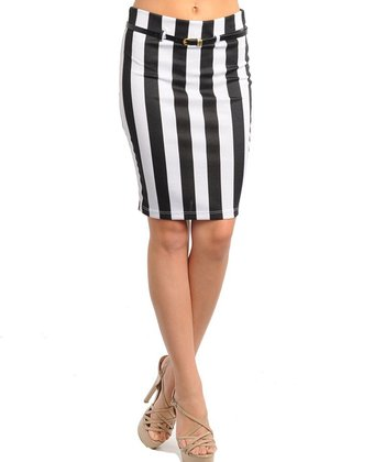White & Black Stripe Belted Skirt