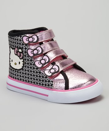 Black & Pink Metallic Hello Kitty Hi-Top Sneaker