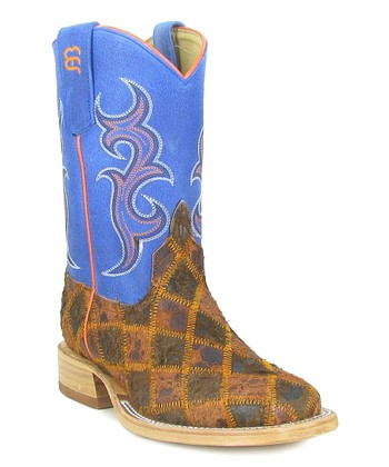 Blue & Brown Patchwork Cowboy Boot
