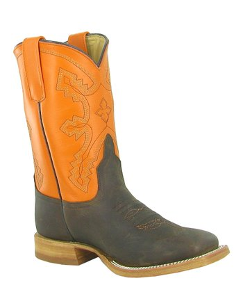 Orange & Gray Cowboy Boot