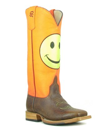 Orange & Brown Smiley Cowboy Boot