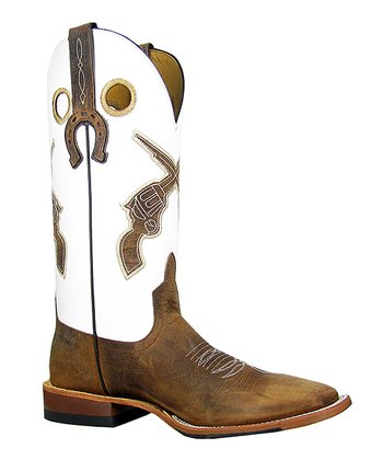 White & Brown Showdown Cowboy Boot - Women