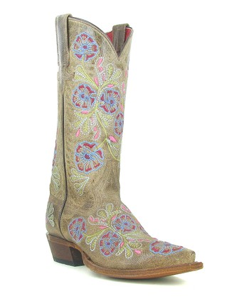 Tan Flower Cowboy Boot - Women