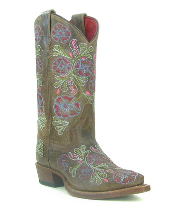 Brown Flower Cowboy Boot