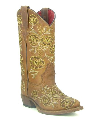 Tan Flower Cowboy Boot