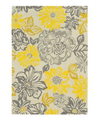 Gray & Yellow Floral Rug