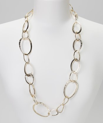 Gold Hammered Link Necklace