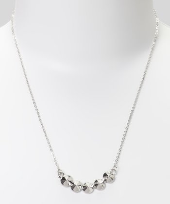 Silver Curve Cone Stud Necklace