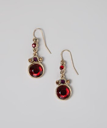 Red Crystal Link Drop Earrings