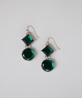 Emerald Crystal Double Drop Earrings