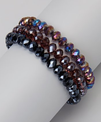 Purple & Hematite Triple Strand Crystal Stretch Bracelet