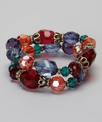 Blue & Red Crystal Double Strand Bracelet