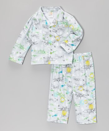 Gray Airplane Top & Pants - Infant