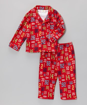 Red Numbers Top & Pants - Infant