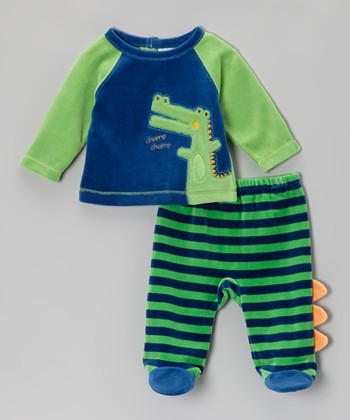 Green Alligator Top & Footie Pants - Infant
