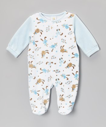 Blue 'Happy Bunnies' Footie - Infant