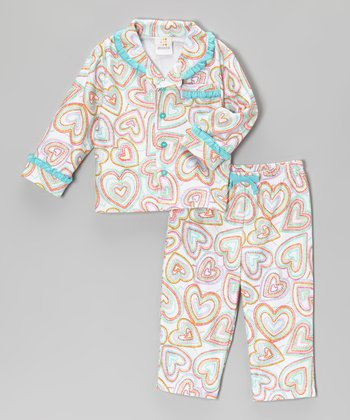 Turquoise Hearts Pajama Set - Infant